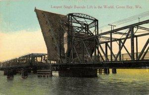 Green Bay Wisconsin~Largest Single Bascule Lift Bridge in World~Open~1913 PC