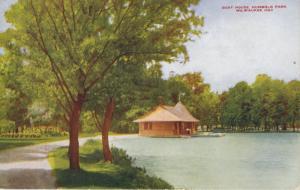 Boat House Humboldt Park ~ Milwaukee Wisconsin WI Postcard (spelling error)