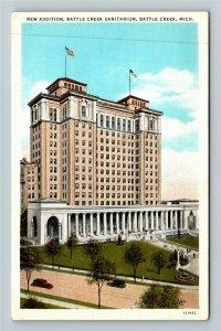 Battle Creek MI-Michigan, Bird's Eye, Sanitarium New Addition, Vintage Postcard