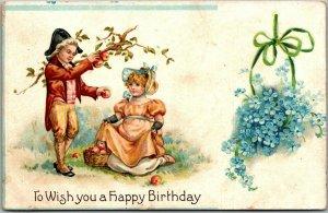 1910s BIRTHDAY Greetings Embossed Postcard Colonial Boy & Girl / Blue Flowers
