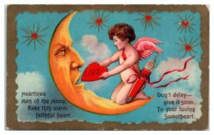Early 1900s Crescent Moon and Cupid Postcard