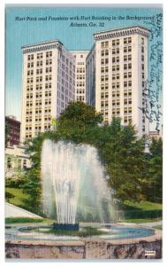 1954 Hurt Park and Fountain with Hurt Building, Atlanta, GA  Postcard