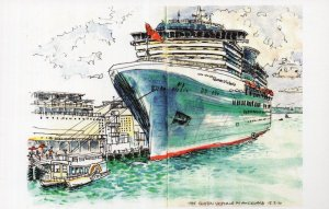 The Queen Victoria Ship at Auckland New Zealand Painting Postcard