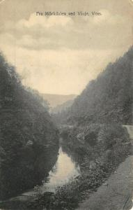 Myrkdalen Norway~Gravel Road Curves Past River~1908 B&W Postcard