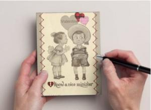 Valentine's Day Postcard Set of 6, Little Girl Kissing Little Boy Old Fashioned