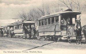 Winfield Kansas Winsfield Electric Trolley Horses Vintage Postcard AA2170