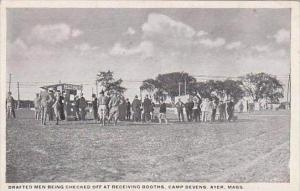 Massachusetts Ayer Camp Devens Drafted Men Being Checked Off At Receiving Booths