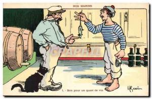 Our Marins- Good for a quarter of the wine- cat-rat-boat-Postcard Old Illustr...