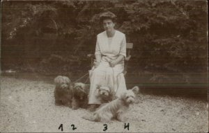 Woman & 4 Dogs - Terriers? West Highland? c1910 Real Photo Postcard