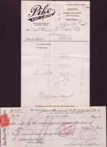 1934 Invoice, Payment Cheque, Piko Hat Ltd, Montreal  Quebec, Mattew McLeanI