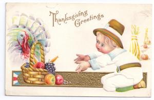 Thanksgiving Pilgrim Boy Child White Turkey Fruit Basket Gold Embossed Postcard