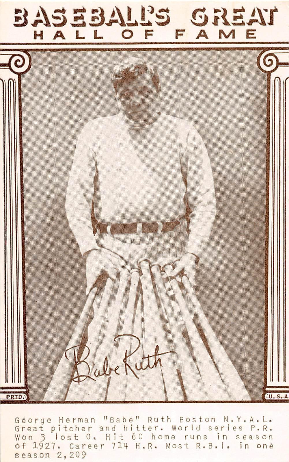 D5 Sports Arcade Card Baseball Player New York Yankees Babe Ruth