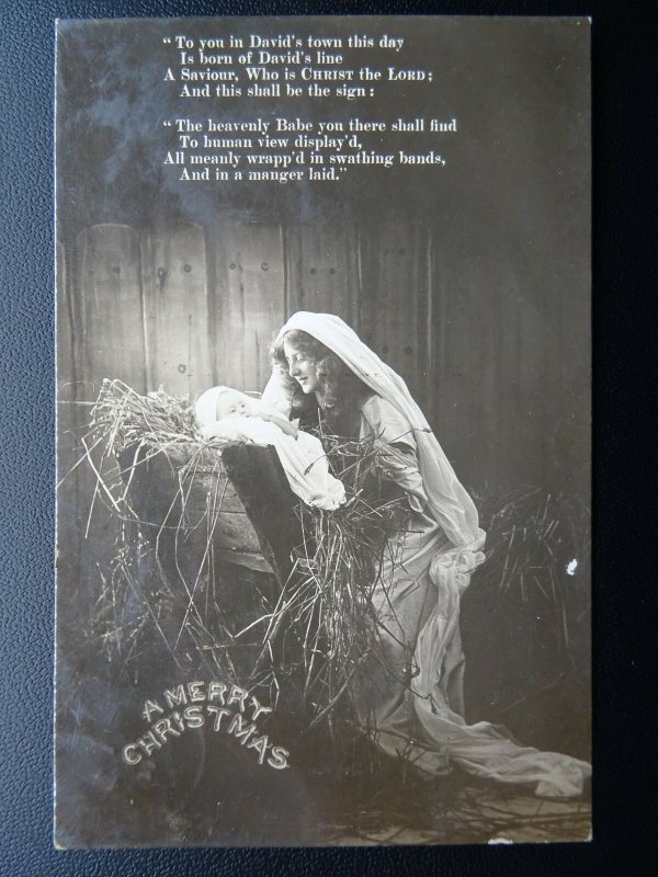 Christmas Greetings MARY & BABY JESUS IN MANGER c1914 RP Postcard by Bamforth