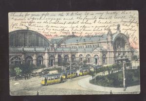 FRANKFURT GERMANY HAUPTBAHNOF RAILROAD STATION DEPOT VINTAGE POSTCARD 1906
