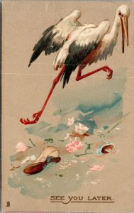RARE - TUCK - VINTAGE - Stork - See you later  - EARLY FEMALE DOCTOR  POSTCARD