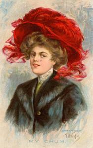 Fashion - Lady With Fancy Hat, My Chum.   Artist: E.H.Kiefer