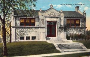 Public Library, Charleston, Illinois, Early Linen Postcard, Unused