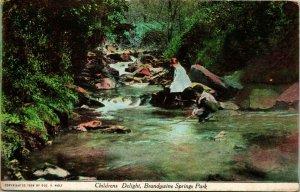 Vtg Postal Wilmington Delaware Brandywine Springs Parque Niños Coleccionable Unp
