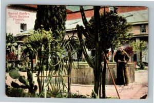 Santa Barbara CA, Mission, Secret Garden, Priest Vintage California Postcard