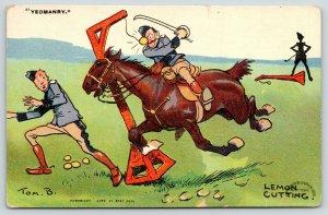 Tom Browne~Yeomanry~Lemon Cutting~Sword Skills on Horseback~1911 Comic Postcard