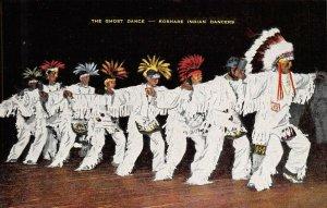 Vintage USA Linen Postcard, The Ghost Dance, Koshare Indian Dancers BA6