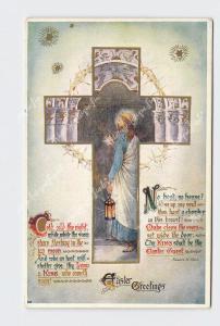PPC POSTCARD EASTER GREETINGS JESUS WITH LANTERN CROSS CROWN OF THORNS POEM TUCK