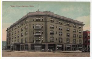 Jackson, Michigan, Early View of The Ostego Hotel