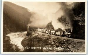 Vintage Canadian Rockies RPPC Real Photo Postcard KICKING HORSE CANYON Train