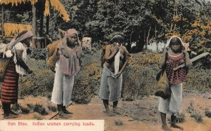San Blas, Panama, Native Women Carrying Loads, Early Postcard, Unused