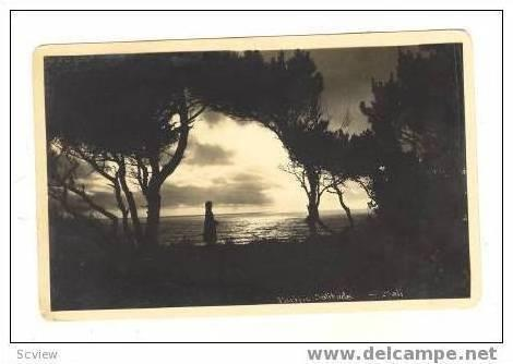 RP Pacific Solitude, woman looks at ocean, sunset, BALI, Indonesia, 1920-30s