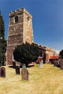 Postcard OLD WARDEN St Leonards Church BEDFORDSHIRE