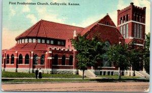 Coffeyville, Kansas Postcard First Presbyterian Church Street View 1914 Cancel