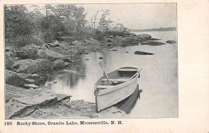 Munsonville New Hampshire Granite Lake Rocky Shore Antique Postcard K85392