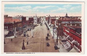 P176 JLs 1915-30 postcard broadway fargo ND old cars trollys