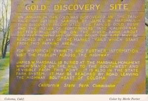 California Coloma Gold Discovery Site Sign