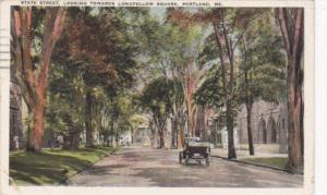 MaIne Portland State Street Looking Towards Longfelllow Square 1930