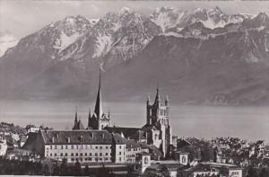Switzerland Lausanne La Cathedrale et les Alpes 1954 Photo