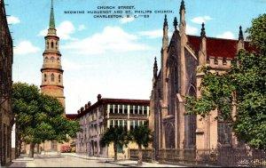 South Carolina Charleston Church Street Showing Huguenot and St Philips Church