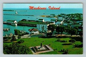 Mackinac Island MI- Michigan, Memorial Father Marquette, Harbor, Chrome Postcard