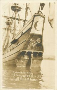 Hudson Fulton Day Albany October 8th 1909 Half Moon vessel ship at Anchor RPPC