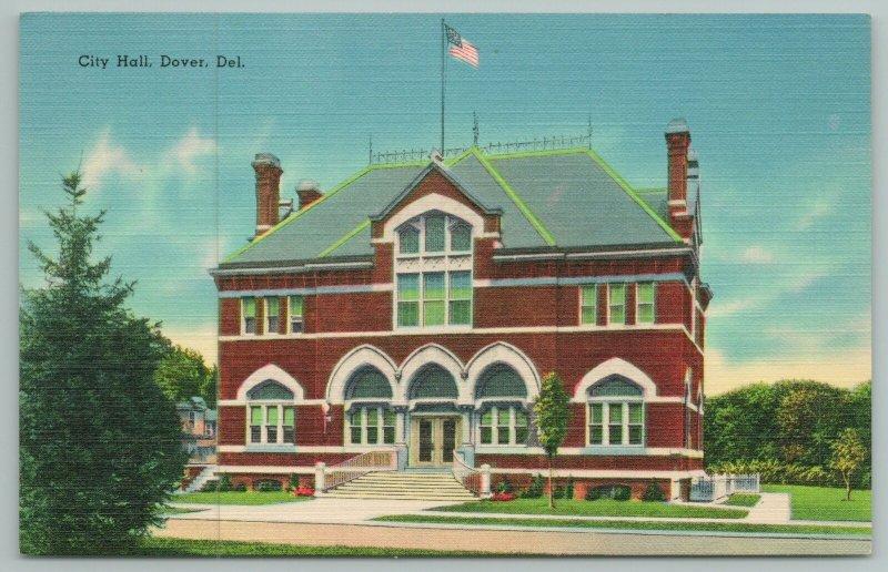 Dover Delaware~Entrance To City Hall Building~Vintage Postcard