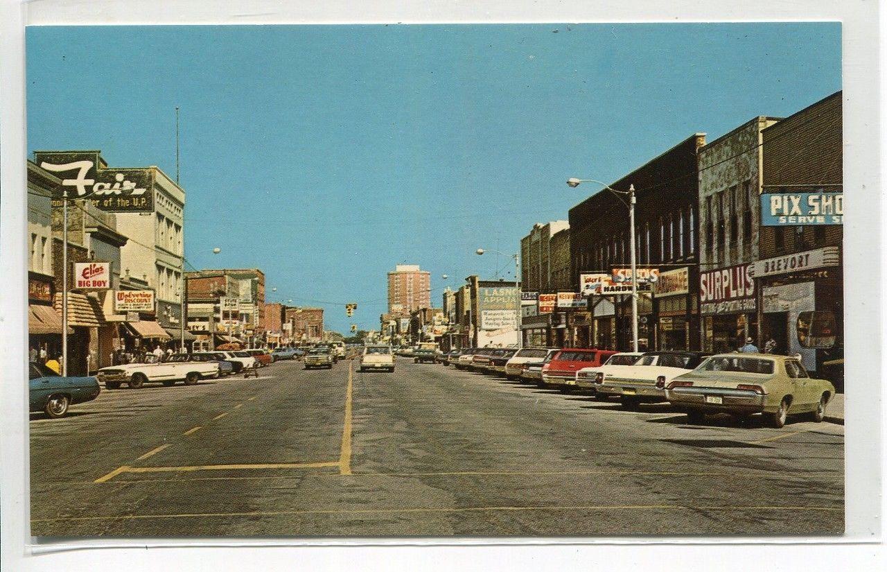 Escanaba Michigan Ludington Street Antique Postcard J48520