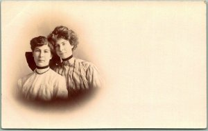 1908 Kansas RPPC Studio Photo Postcard 2 Young Ladies / Sisters w/ SENECA Cancel