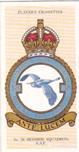 Cigarette Card Player and Sons R AF Badges 1937 No 26 # 38 Bomber Squadron