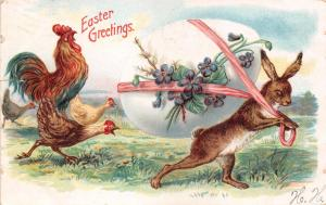 LOT OF 2 GREAT EASTER GREETING POSTCARDS~BOTH HAVE SMALL TEAR ON LEFT MARGINS