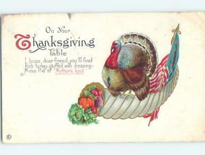 Pre-Linen patriotic thanksgiving USA FLAG AND TURKEY ON HORN OF PLENTY HJ2983
