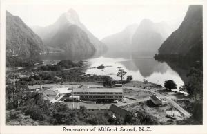Vintage RPPC Postcard  Panorama of Milford Sound New Zealand NZ Goodall Photo