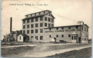 Lyons, Kansas Postcard Central Kansas Milling Co. Mill Building 1911 Cancel