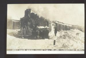RPPC LAMBERTON IOWA SNOW BOUND RAILROAD TRAIN 1907 REAL PHOTO POSTCARD