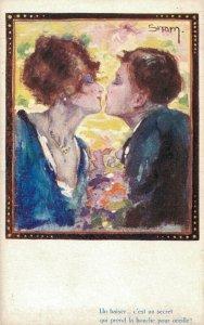 Art Deco Romantic Couple Artist Signed Snam 05.73